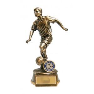 Male Football Figure Trophy Antique Gold 25cm